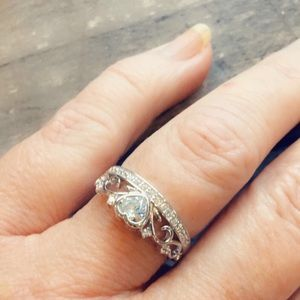 Jewelry - Heart and crown cz sterling ring
